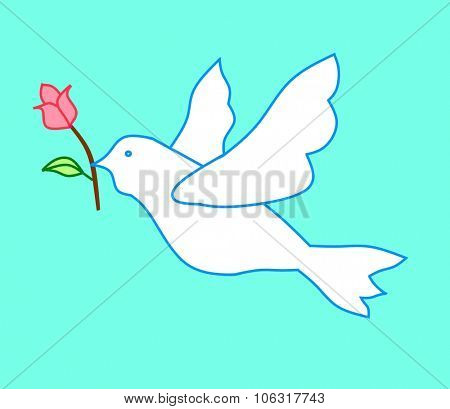 Pigeon with red rose
