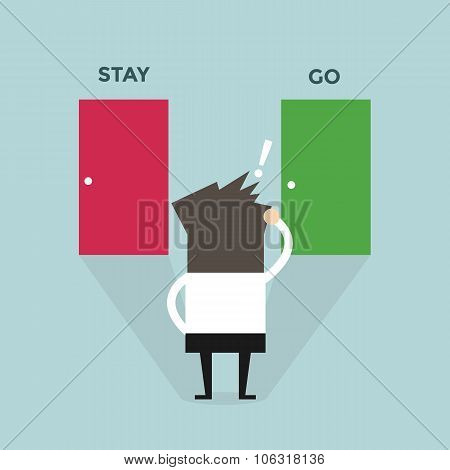 Businessman decision in front of two doors stay or go