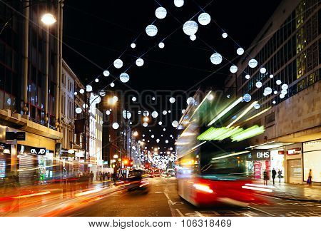 13 Nov 2014, London, England -  Oxford Street decorated for Christmas and New 2015 Year