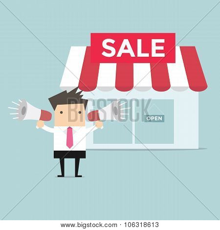 Businessman shop promotion
