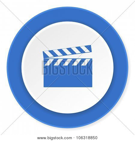 video blue circle 3d modern design flat icon on white background