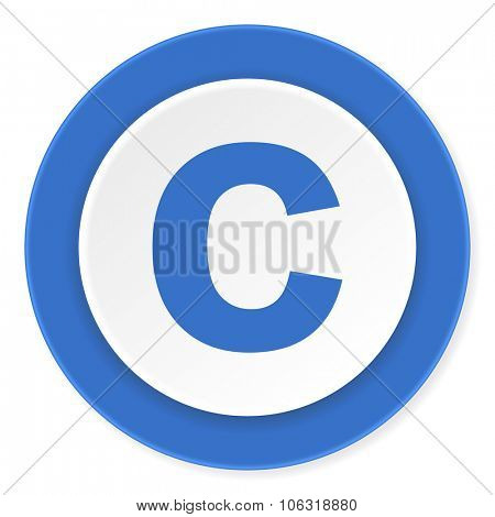 copyright blue circle 3d modern design flat icon on white background