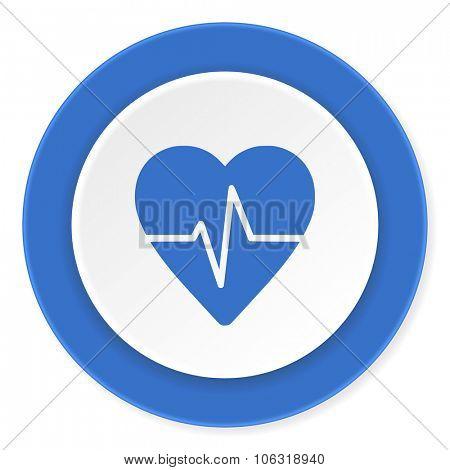 pulse blue circle 3d modern design flat icon on white background