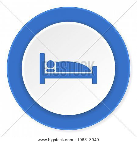hotel blue circle 3d modern design flat icon on white background