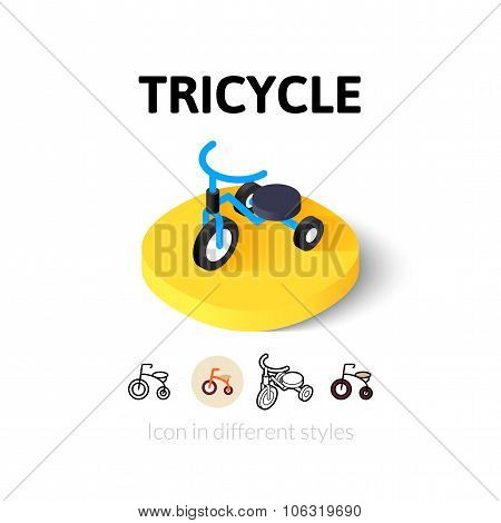 Tricycle icon in different style