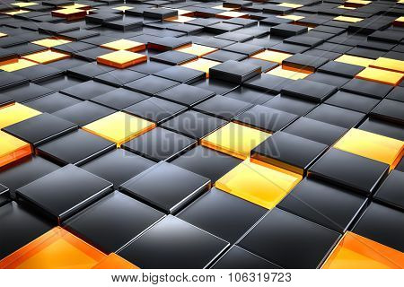 A background image of some black and orange glass cubes