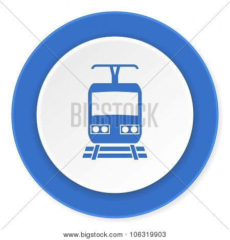 train blue circle 3d modern design flat icon on white background