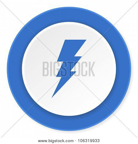 bolt blue circle 3d modern design flat icon on white background