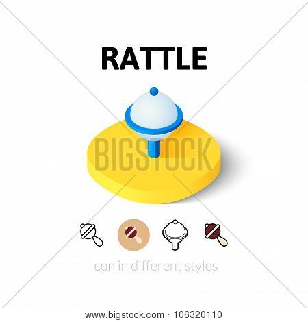 Rattle icon in different style