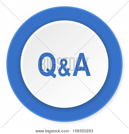 question answer blue circle 3d modern design flat icon on white background