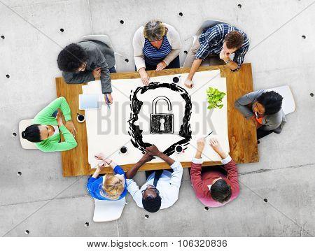 Brainstorming Unlock Human Resource Thinking Concept