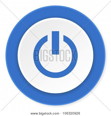 power blue circle 3d modern design flat icon on white background