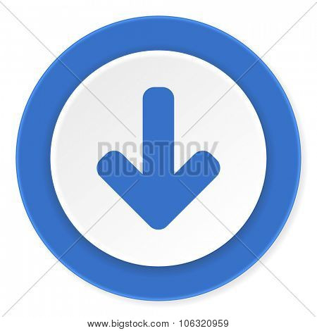 download arrow blue circle 3d modern design flat icon on white background