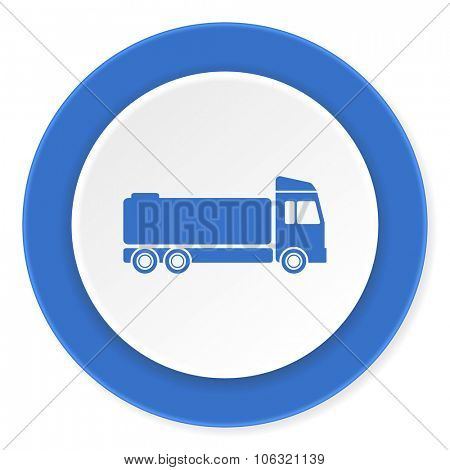 truck blue circle 3d modern design flat icon on white background