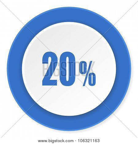 20 percent blue circle 3d modern design flat icon on white background