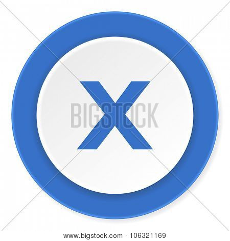 cancel blue circle 3d modern design flat icon on white background