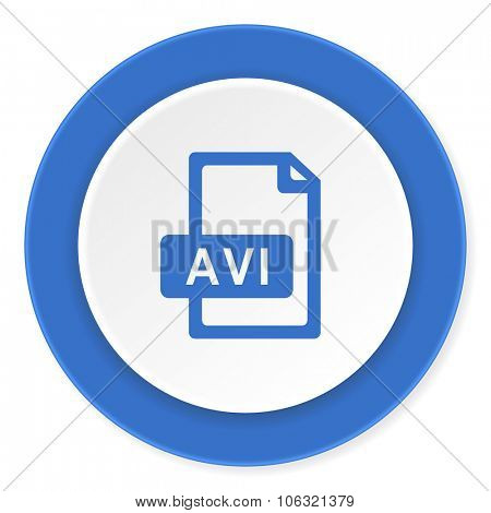 avi file blue circle 3d modern design flat icon on white background