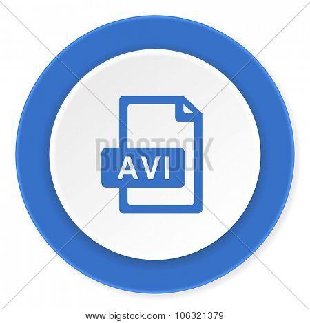 avi file blue circle 3d modern design flat icon on white background
