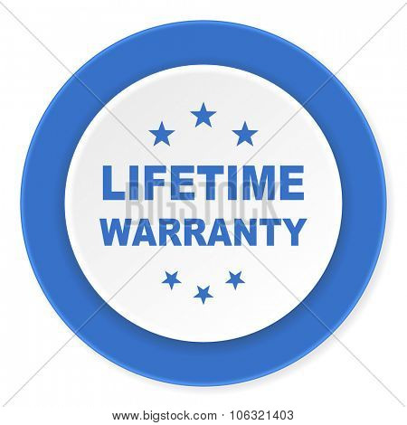 lifetime warranty blue circle 3d modern design flat icon on white background