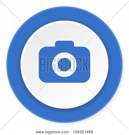 photo camera blue circle 3d modern design flat icon on white background