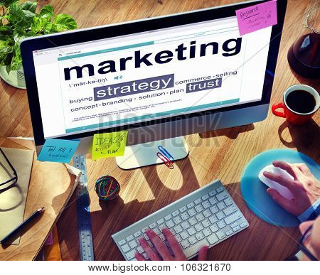 Digital Dictionary Marketing Strategy Research Concept