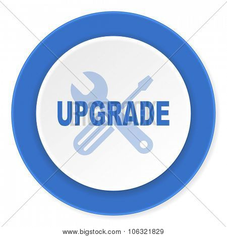 upgrade blue circle 3d modern design flat icon on white background