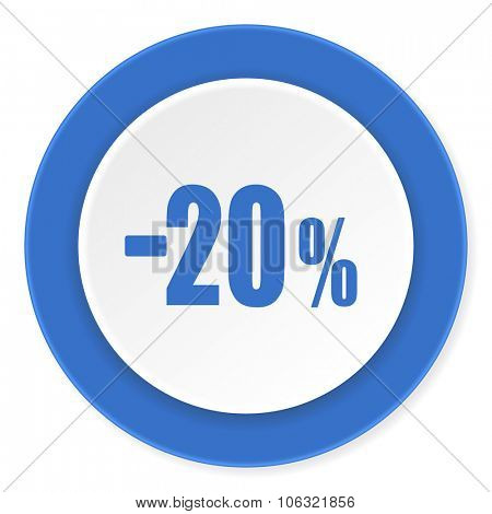 20 percent sale retail blue circle 3d modern design flat icon on white background
