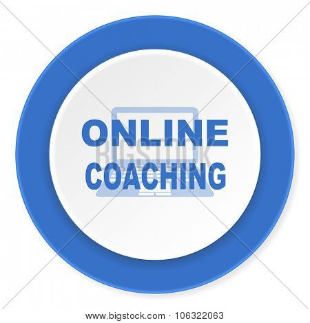 online coaching blue circle 3d modern design flat icon on white background