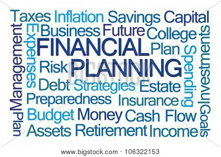 Financial Planning Word Cloud on White Background