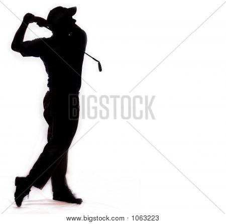 Isolated Silhouette Golf Swing