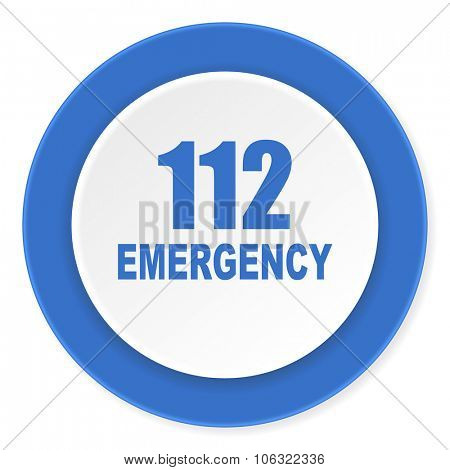 number emergency 112 blue circle 3d modern design flat icon on white background