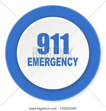 number emergency 911 blue circle 3d modern design flat icon on white background