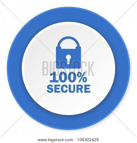 secure blue circle 3d modern design flat icon on white background