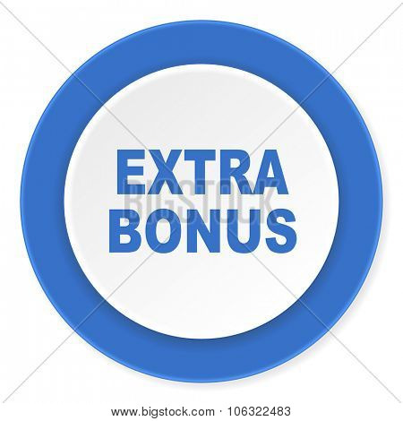extra bonus blue circle 3d modern design flat icon on white background