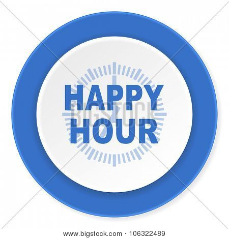 happy hour blue circle 3d modern design flat icon on white background