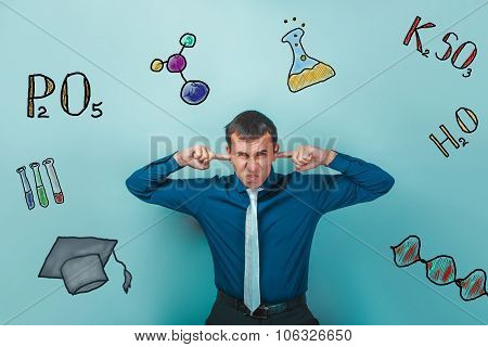 businessman chemistry man teenage student dissatisfied with his