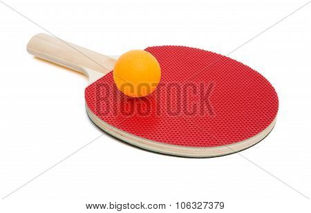 Pingpong Rackets And Ball On White With Clipping Path