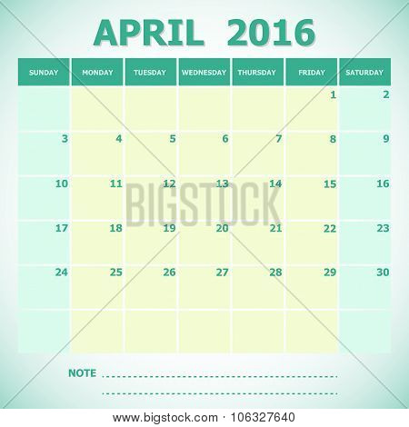 Calendar April 2016 Week Starts Sunday