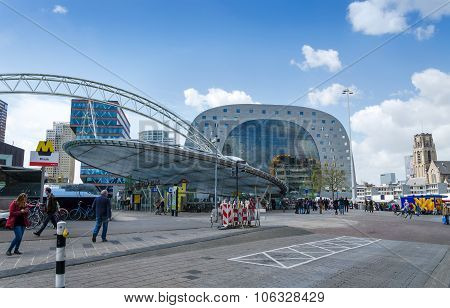Rotterdam, Netherlands - May 9, 2015: People Visit Markthal (market Hall) In Rotterdam.