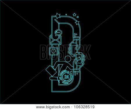 neon font icon typeface - D
