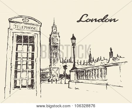 Streets in London England Bus Big Ben drawn