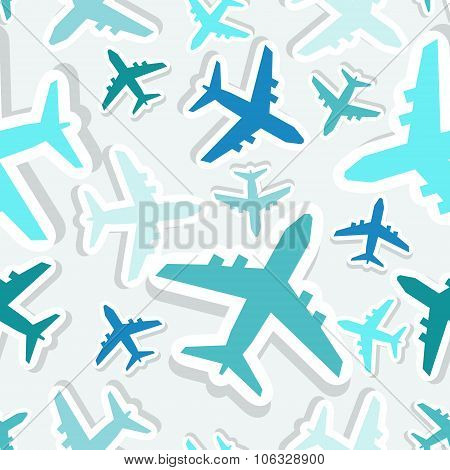 Seamless vector pattern with blue planes.