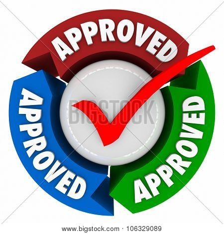 Approved word on arrows around a red check mark to illustrate official approval, rating, assessment, certification or endorsement
