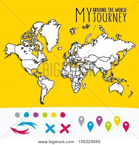 Hand drawn world map with pins and arrows vector design. Cartoon style atlas illustration. Travel po