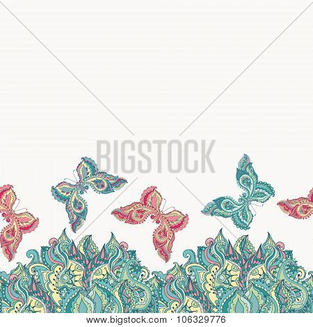 Vector Seamless Pattern With Decorative Colorful Butterflies On A White Background.