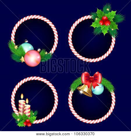 Christmas Frame Set Design With Candles Bells Branches And Bow