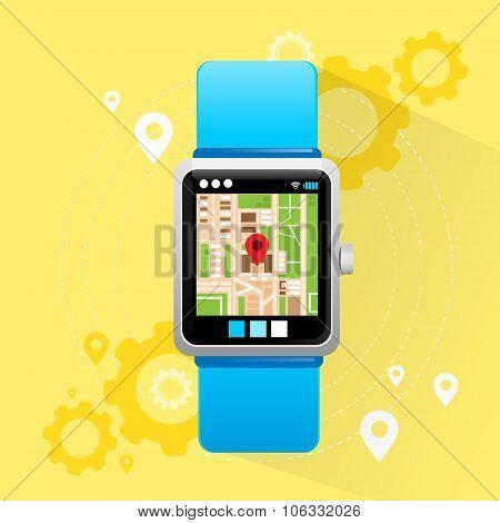 Smart Watch Application City Map Navigation