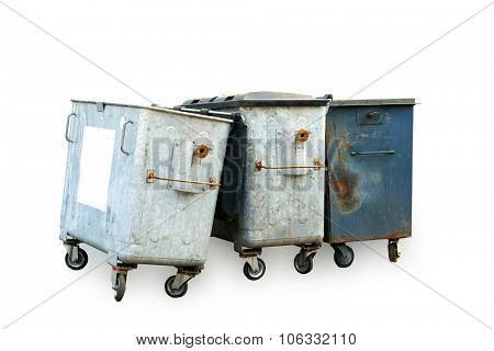 Street garbage container. Isolated on white .