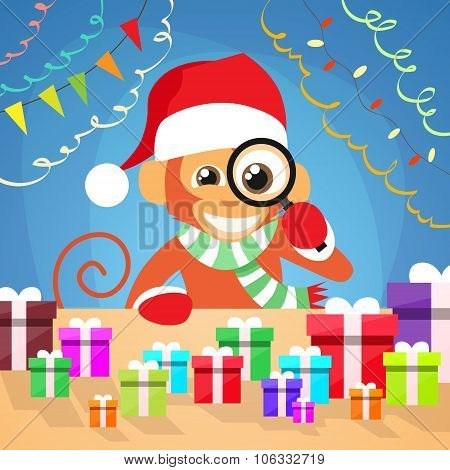 Christmas Monkey Choose Gift Box on Desk New Year Present Concept Santa Clause Hat Magnifying Glass