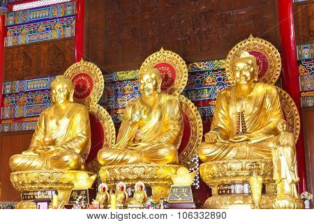 The Three Buddhas In The Chinese Temple Of Thailand